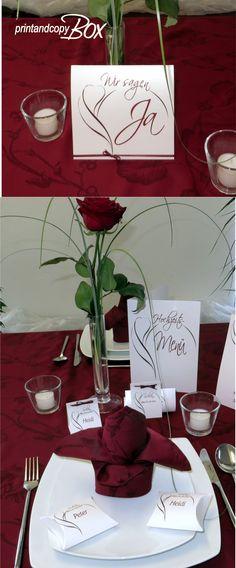 Stilvolle Hochzeitseinladung mit passender Papeterie und Tischdeko. Edel und elegant soll eure Hochzeitstafel wirken