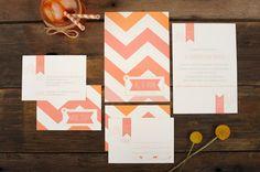 Chevron Wedding Invitation - Pink Ombre Chevron, Stripe Pattern Invite
