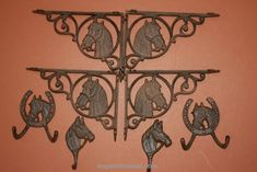 Western Americana Horse Shelf Brackets Wall Hook Collection, Free Shipping, (BC)…