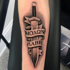 What does sword tattoo mean? We have sword tattoo ideas, designs, symbolism and we explain the meaning behind the tattoo. Army Tattoos, Warrior Tattoos, Military Tattoos, Molon Labe Tattoo, Forearm Tattoos, Sleeve Tattoos, Hand Tattoos, Tatoos, Spartan Helmet Tattoo