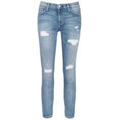 current/elliott 'The Fling' distressed cropped jeans (375 SGD) ❤ liked on Polyvore featuring jeans, blue, ripped jeans, blue jeans, destructed boyfriend jeans, distressed jeans and slim fit jeans