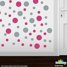 Set of 30 - Hot Pink / Metallic Silver Circles Polka Dots Vinyl Wall Graphic Decals Stickers * Visit the image link more details. (This is an affiliate link) #WallStickersMurals