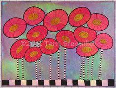 Doodle Poppies - Art Quilt.