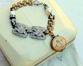 Vintage Art Deco Rhinestone, Pearl, Pyrite and Brass Locket One of a Kind Bracelet...Thoughtful