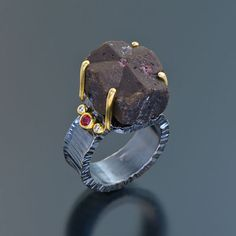 oxidized sterling silver 22kt gold ring staurolite spinels diamonds