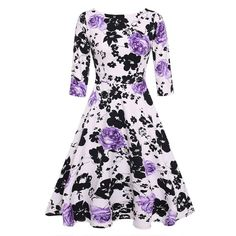 Trendy Vintage Floral Print Dress Gender: Women Waistline: Natural Decoration: None Sleeve Style: Regular Style: Vintage Material: Cotton,Polyester Season: Autumn Dresses Length: Mid-Calf Neckline: O-