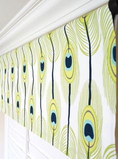 Peacock Window Treatment Valance.Navy Blue By TheDesignerTouch