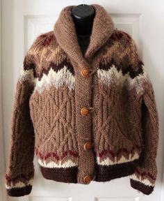 Vintage Hand Knit 100% Wool Angela Campos De Morris Mexico Sweater Cardigan S #AngelaCamposDeMorris #CowlNeck