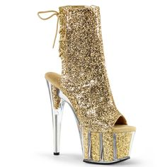 Pleaser ADORE-1018G Gold Glitter Platform Ankle Boots