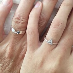 Matching Promise Rings For Couples with a hidden heart on her ring will make perfect promise ring for couples to show the intertwining of your two hearts. Personalization ideas: - his and hers initials, or names - anniversary date - roman numerals - short word (maximum number of characters