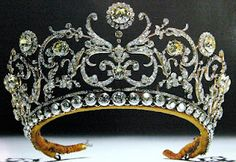 The magnificent tiara of the Grand Duchess Vladimir of Russia., made of white and yellow diamonds.