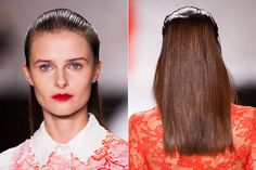 Spring 2014 Runway Beauty -  Dry and straight strands were slicked back in front with a wet-finish gel