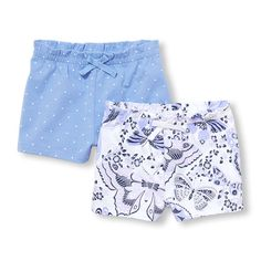 Baby Girls Dot And Butterfly Print Paperbag-Waist Shorts 2-Pack | The Children's Place