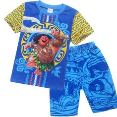 afb3be245 2017 Summer Kids Boys Pajamas Short Sleeve T-shirt+Print Shorts Clothing  Set Boys Sleepwear Moana Costume Girls Pajamas Pyjamas