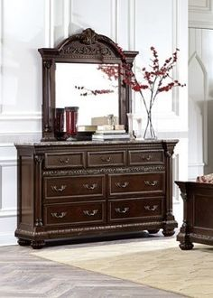 russian hill warm cherry wood faux marble glass dresser