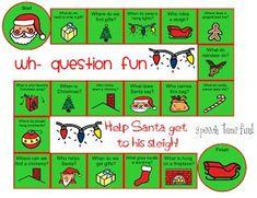 Wh- Question Xmas Board Game Freebie! - Speech Time Fun