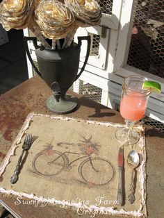 Burlap Table Placemats - Bike with Basket and Birds - Rustic Romance. , via Etsy. Burlap Projects, Burlap Crafts, Diy Projects To Try, Fabric Crafts, Sisal, Funny Bird, Burlap Lace, Hessian, Bird Theme