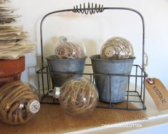 Jute Filled Clear Christmas Ornaments. http://organizedclutterqueen.blogspot.com
