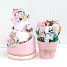Girl Woodland Baby Shower Gift Set Diaper Cake and Baby Bouquet - Baby Blossom Company Baby Gift Hampers, Baby Shower Gift Basket, Baby Hamper, Baby Shower Gifts, Gift Baskets, Baby Shower Centerpieces, Baby Shower Decorations, Cake Centerpieces, Pink Showers