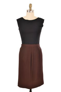 Brown Pleated Knee Length Pencil Skirt | ClosetDash #fashion #style #skirts