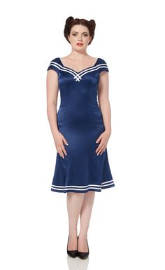 Ahoy there sailor! You'll love our 'Isla' nautical inspired wiggle dress! Available online now -->  http://www.claireabellascloset.co.uk/component/hikashop/product/1395-voodoo-vixen-isla-nautical-wiggle-pencil-dress?Itemid=126
