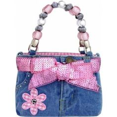 Purses for girls - Wondering if I could make one of these from a pair of  Aidan's cute girly jeans! 4b4a42f219da