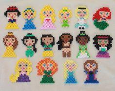 Disney Princesses made from Perler Beads by tiffanysobears on Etsy Hama Beads Disney, Perler Beads, Perler Bead Art, Fuse Beads, Fuse Bead Patterns, Perler Patterns, Beading Patterns, Perler Bead Designs, Art Perle