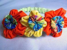 Infant Headband With Yellow and Orange  Flowers | Wyverndesigns - Children's on ArtFire