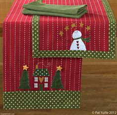 The Country Porch features the Home for Holidays Table Runners from Park Designs. Christmas Runner, Christmas Makes, All Things Christmas, Christmas Fun, Christmas Decorations, Christmas Ornaments, Christmas Table Runners, Christmas Patchwork, Christmas Sewing