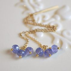 NEW Real Tanzanite Earrings Gold Threaders by livjewellery on Etsy https://www.etsy.com/listing/212602573/new-real-tanzanite-earrings-gold?ref=shop_home_active_17&ga_search_query=new
