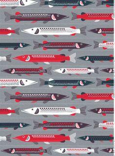 Its by Sanna Annukka. Hauki Coated Cotton Fabric (grey, violet, red) |Fabrics, Coated Cottons | Marimekko