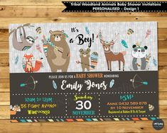 Tribal Woodland Animals Personalised Baby Shower Invitations for Baby Boy and Baby Girl - Printed or Digital. Ship worldwide. www.lollipoppartysupplies.com.au