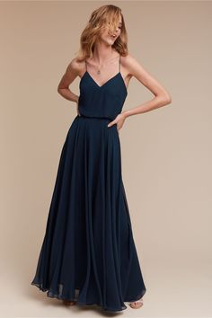 a flowy dress that's both understated and classic | Inesse Dress in Navy from BHLDN