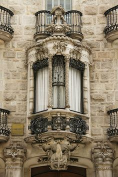 Barcelona - Carrer de Casp...  stunning window with balcony and detail... detail... detail...