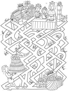 Crafts,Actvities and Worksheets for Preschool,Toddler and Kindergarten.Lots of worksheets and coloring pages. Mazes For Kids, Worksheets For Kids, Colouring Pages, Coloring Books, Chateau Moyen Age, Maze Worksheet, Dover Publications, Hidden Pictures, Pre Writing