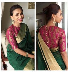 8 New Interesting Blouse Trends For The Quintessential South Indian Bride! 8 New Interesting Blouse Trends For The Quintessential South Indian Bride! Blouse Designs High Neck, Silk Saree Blouse Designs, Fancy Blouse Designs, Saree Blouse Patterns, Tie Blouse, Saree Blouse Long Sleeve, Work Blouse, Blouse For Silk Saree, Blouse Designs Wedding