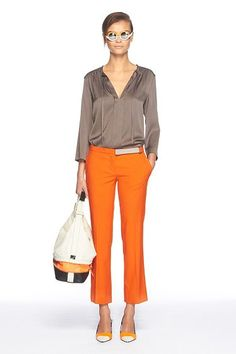 Anne Top in color Slate by DVF with orange slacks, a perfect day to evening look...