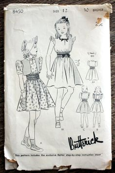 Butterick 4845 Pattern CUT Complete 1940s Girl/'s or Boy/'s Overalls or Shortalls and Double Breasted Jacket Patch Pockets Size 4 Chest 23