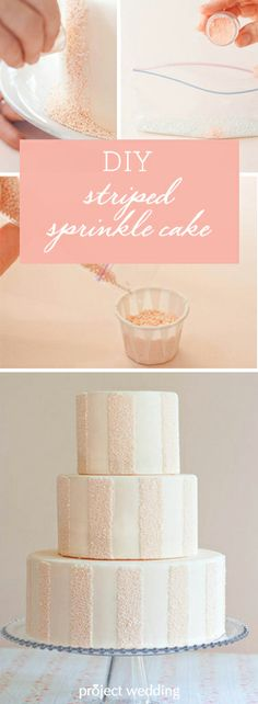 DIY Striped Sprinkle Cake via Project Wedding