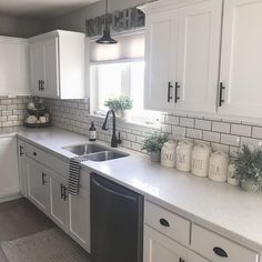 home decor kitchen cool 52 Cozy Color Kitchen Cabinet Decor Ideas Kitchen Cabinets Decor, Kitchen Cabinet Colors, Cabinet Decor, Farmhouse Kitchen Decor, Home Decor Kitchen, Home Kitchens, Kitchen Countertops, Cabinet Makeover, White Kitchen Decor