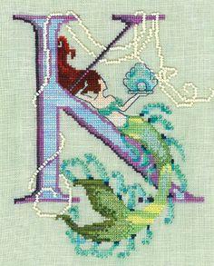 Letters From Mermaids - K Cross Stitch Pattern (14-1747) Embroidery Patterns by Nora Corbett
