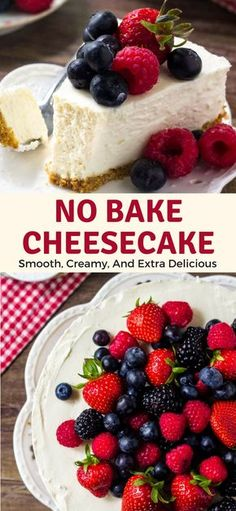This easy no-bake cheesecake is smooth, creamy, and extra delicious. It has all the flavor of a traditional cheesecake - but with way less effort. #summerdesserts #nobakedesserts #cheesecake #nobake Easy No Bake Cheesecake, Easy No Bake Desserts, Summer Desserts, Holiday Desserts, Cheesecake Recipes, Cupcake Recipes, Delicious Desserts, Dessert Recipes, Cheesecake Squares