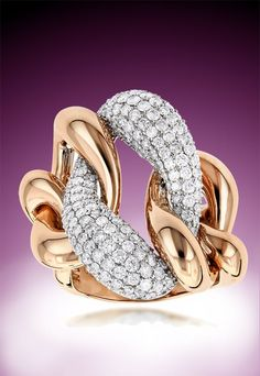 Unique Diamond Cocktail Rings: This Gold Two Tone Designer Diamond Ring… Big Diamond Rings, Diamond Jewelry, Jewelry Rings, Big Wedding Rings, Baguette Diamond, Unique Necklaces, Cocktail Rings, Fashion Rings, Round Diamonds