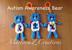 Rainbow Loom Autism Awareness Puzzle Bear: How To Video