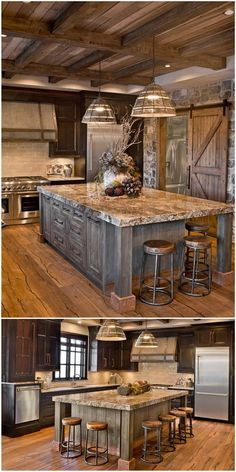 This oversized island features a built-up granite top, rustic metal accents and inset doors. #kitchen #kitchendesign