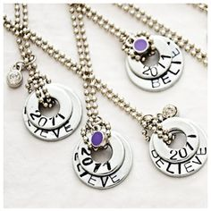 Believe necklaces ***  Get a couple of steel washers, write your message with a Sharpie or any other permanent marker then pop it in the oven for 20 minutes. Add some charms and a beautiful chain and voilà!