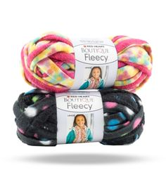Boutique Fleecy - Snuggly printed fleece fabric with added track makes this yarn super easy to stitch with. Create a cozy ruffled scarf with just 1 ball.