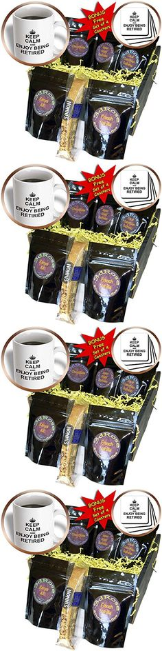 InspirationzStore Typography - Keep Calm and Enjoy being Retired. fun carry on themed Retirement gift - Coffee Gift Baskets - Coffee Gift Basket (cgb_194474_1)