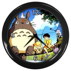 "My Neighbor Totoro [10"" Wall Clock *Black/Silver Frame]"