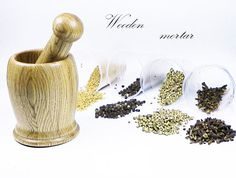 Mortar, pestle and a mortar made of wood, organic material oak tree, gift to a woman, home decor, handmade, woodturning